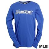 (男)MLB-德州遊騎兵隊LOGO棉質T恤-藍