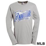 (男)MLB-德州遊騎兵隊LOGO圓領棉質T恤-灰