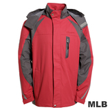 (男)MLB-華盛頓國民隊立領可拆帽風衣外套-紅