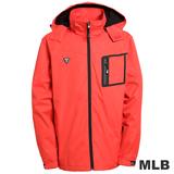 (男)MLB-波士頓紅襪隊立領可拆帽風衣外套-紅