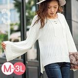日本Portcros 預購-交叉綁帶寬袖前短後長針織上衣(M-LL共三色)