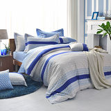 GOLDEN-TIME-摩斯密碼-200織紗精梳棉-兩用被床包組(藍-單人)
