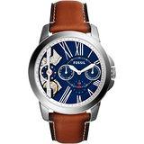FOSSIL TWIST系列雙機芯日曆腕錶-藍x咖啡/44mm ME1161