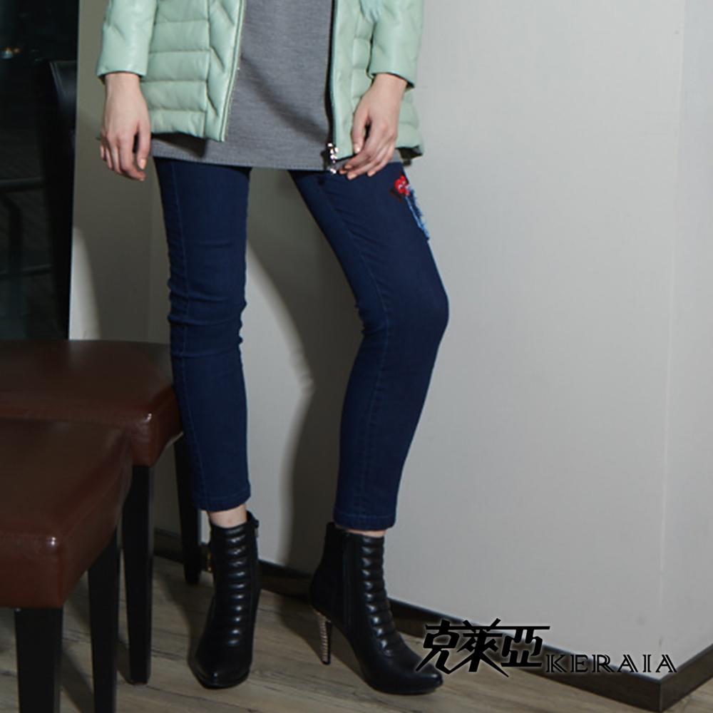 【克萊亞KERAIA】插圖拼貼單寧牛仔褲