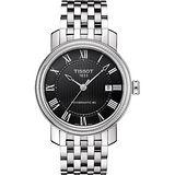 TISSOT Powermatic 80 寶環系列經典羅馬機械腕錶-黑/40mm T0974071105300