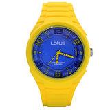 LOTUS 黃色小精靈跳色時尚立體指針休閒錶(TP2132M-08)-黃x藍面/45mm
