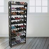 【LIFECODE】可調式十層鞋架/可放30雙鞋-黑色