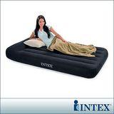 【INTEX】舒適型-單人加大植絨充氣床墊(寬99cm)-有頭枕設計