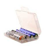 4號 電池 四入裝收納盒/白透明色 (3個)
