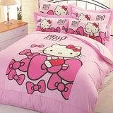 Hello Kitty蝴蝶結-單人床包+5*6涼被組