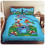 【星際寶貝-史迪奇-歡樂跳躍】雙人四件式被套床包組-藍