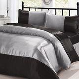 《時尚銀灰》雙人加大四件式絲緞薄被套床包組
