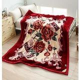 超大尺寸【日本花藝-綻放】超細纖維雙層舒眠毛毯(180x230cm)