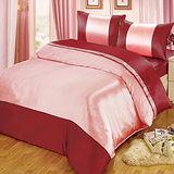 《華麗-紅銀》雙人四件式絲緞薄被套床包組