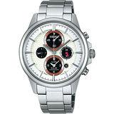 SEIKO 王者之劍太陽能鬧鈴兩地時間腕錶(V174-0AA0S)-銀