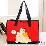 ABS貝斯貓 Music Cat 拼布肩提包 手提袋(鮮豔紅)88-123