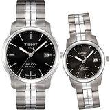 TISSOT PR100 經典瑞士石英鈦金屬對錶(T0494104405100+T0493104405100)-黑