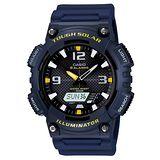 CASIO 型男個性太陽能雙顯錶(深藍錶帶)