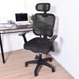 剛普朗克頭枕網背護脊挺腰辦公椅/電腦椅(黑色)
