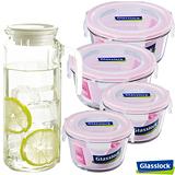 Glasslock純淨玻璃微波保鮮盒 - 盛夏悠活4+1件組