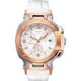 TISSOT T-RACE LADY 計時運動腕錶(T0482172701700)-白/玫塊金
