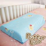 【奶油獅】正版授權~乳膠、記憶工學中枕專用100%純棉枕頭套(水藍*2入)