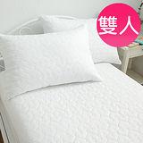MIT iLOOK【繽紛果漾-輕柔白】雙人愛心壓紋床包式防汙保潔墊