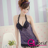 【Gaoria】危險禁果-紫色豹紋蕾絲性感薄紗睡襯衣