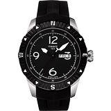 TISSOT T-Navigator 霸氣型男機械腕錶-黑/橡膠 T0624301705700