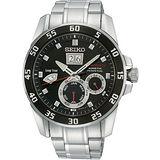 SEIKO Kinetic 專業萬年曆腕錶-黑 7D48-0AK0D