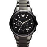 ARMANI 經典時尚陶瓷計時腕錶-黑 AR1452