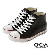 GOA街頭時尚.女款內增高帆布款橡膠雨鞋-黑
