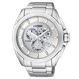 CITIZEN 終極競速光動能計時鋼帶碼錶-銀白AT0821-59A