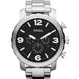FOSSIL 大世紀戰神三眼計時腕錶-黑/銀 JR1353