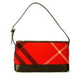 BURBERRY 黑標經典羊毛蘇格蘭斜格紋側肩包-小-紅色