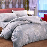 【Saebi-Rer 馨苑花影.灰】雙人四件式台灣製精梳棉被套床包組