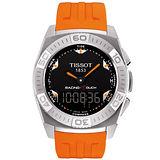 TISSOT Racing Touch 多功能觸控腕錶-黑/橘/橡膠 T0025201705101