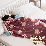【奶油獅】台灣製造-居家辦公室保暖好物-奶油獅搖滾星星保暖搖粒絨毯-棗紅