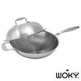《WOKY沃廚》頂級時尚不鏽鋼主廚鍋32cm(加厚七層3mm)