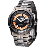 SEIKO 精工5號時空戰警機械腕錶 4R36-01V0SD黑+橘SRP345J1