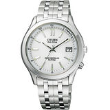 CITIZEN Eco-Drive 單局電波萬年曆腕錶-白/銀 FRD59-2392