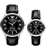 ARMANI 意式時尚小秒針皮帶對錶-黑 AR9100