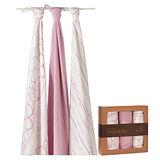 美國aden+anais 天然竹纖維包巾-粉紅幾何系列(3入)AA9204