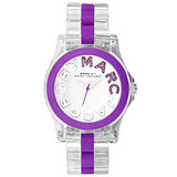 Marc Jacobs MBMJ 繽紛晶鑽時尚玻麗腕錶-透明/紫 MBM4550