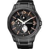CITIZEN Eco-Drive 重擊防線日曆腕錶-IP黑 AP4005-54E