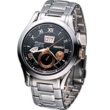 SEIKO Premier 人動電能時尚腕錶7D48-0AL0K 黑+玫瑰金色SNP062J1