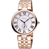 Standel 詩丹麗羅馬小秒針腕錶-白/玫塊金 8S0232RS