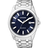 CITIZEN Eco-Drive GENT'S 時尚都會腕錶-藍/銀 BM7101-56L