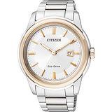 CITIZEN Eco-Drive 無限時尚都會腕錶-銀/玫塊金框 AW1124-58A