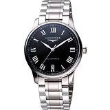 LONGINES Master 羅馬大三針日期機械錶-黑/銀 L26284516